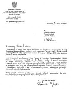 List z kancelarii Prezydenta